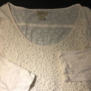 LUCKY BRAND Lace front 3/4 Sleeve T-Shirt